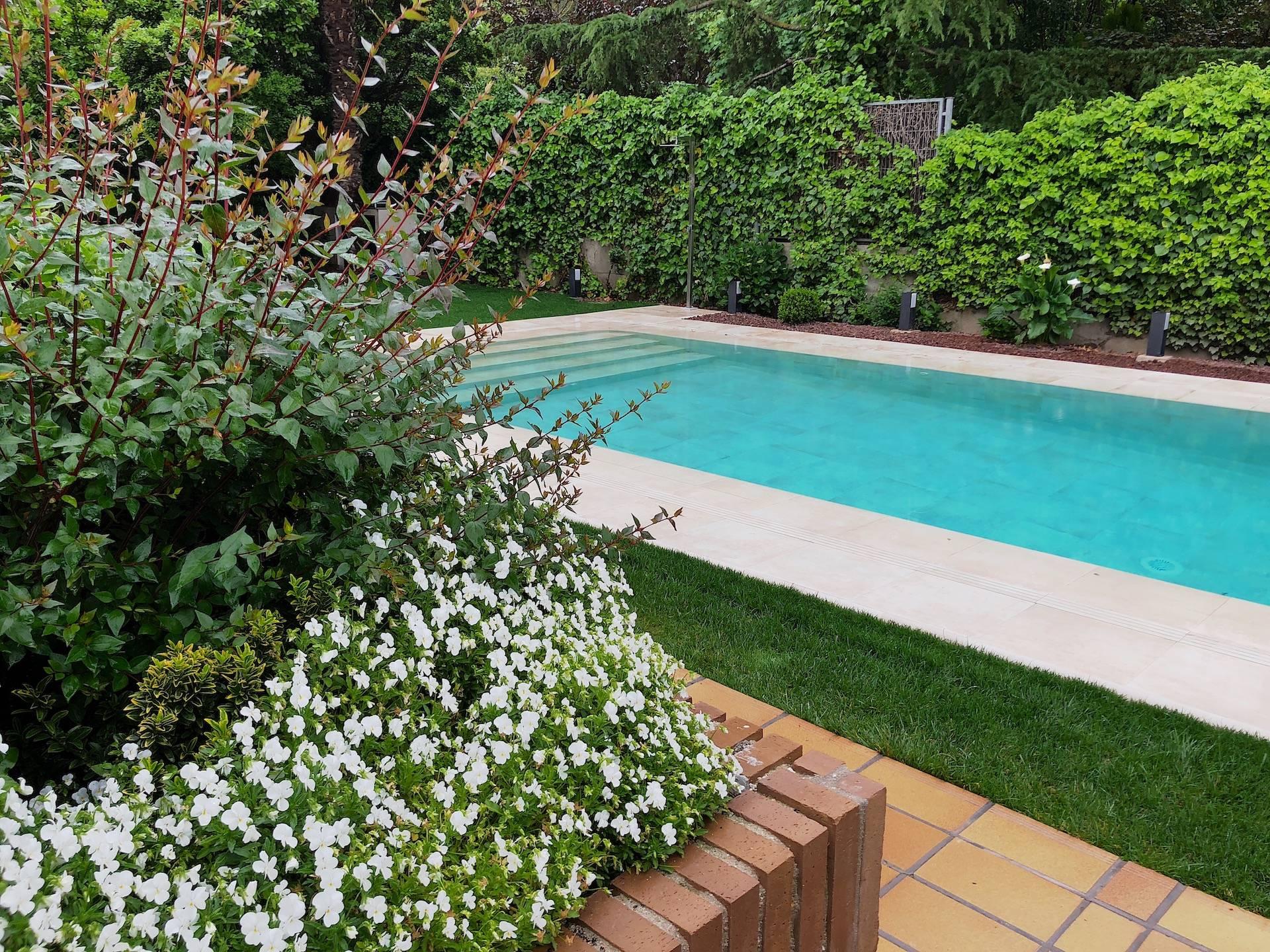 Jardín con piscina desbordante reformada