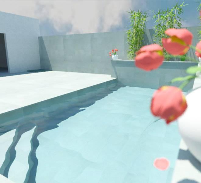 Diseño de escalera de piscina en esquina