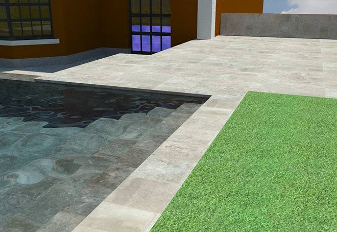 Infografía de piscina con escalera de obra