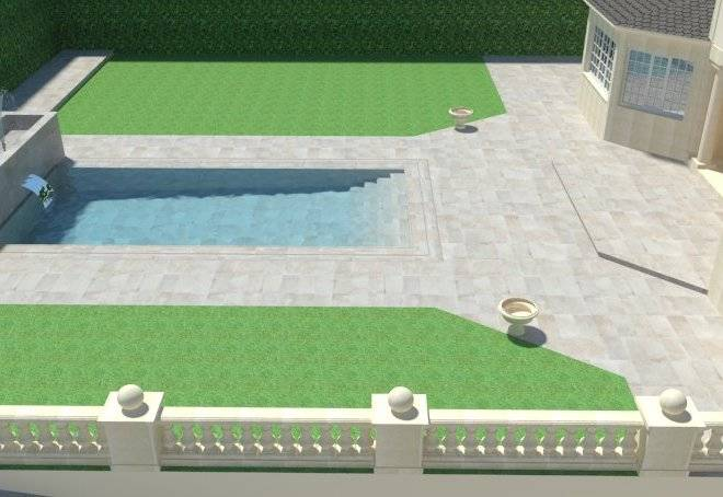 Infografía de patio con piscina central