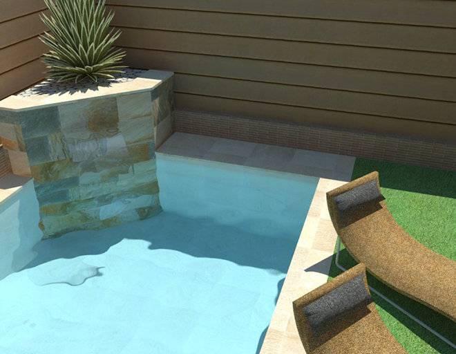 Infografía de piscina con jardinera en esquina