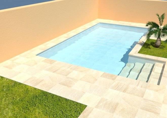 Infografía de jardín privado con piscina