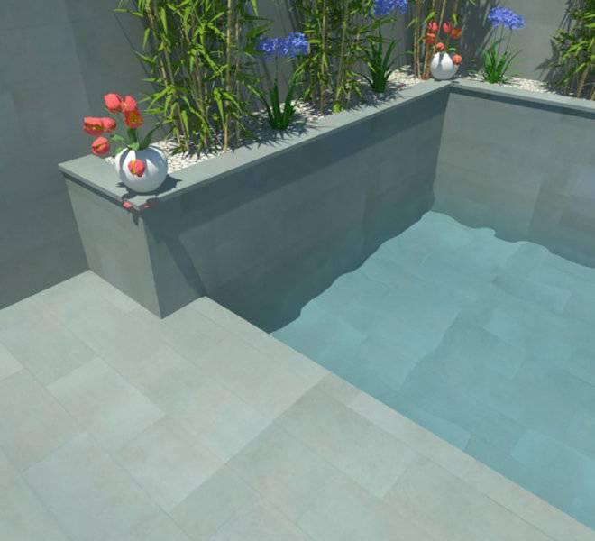 Infografía de jardín con piscina, jardineras y cascada
