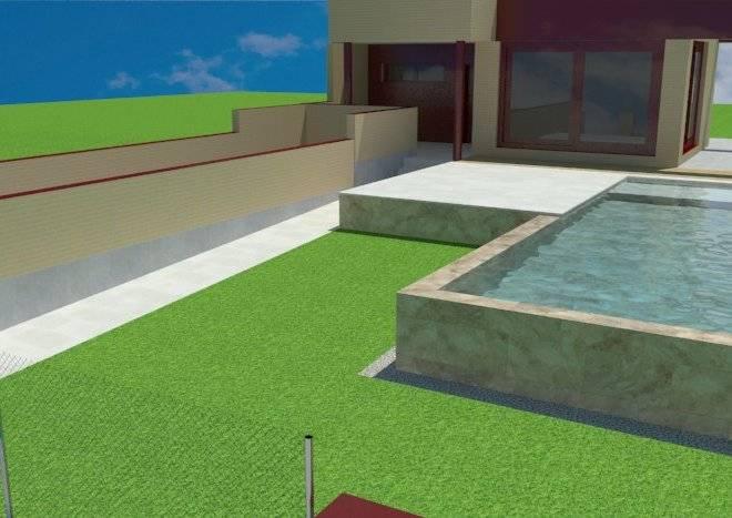 Infografía de piscina desbordante por dos lados