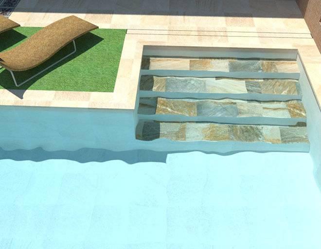 Infografía de piscina con escalera de obra en forma de L