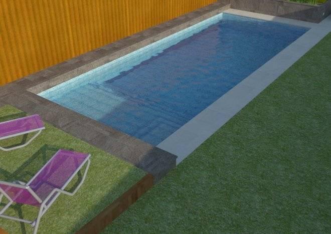 Infografía de piscina y jardín privado en Madrid