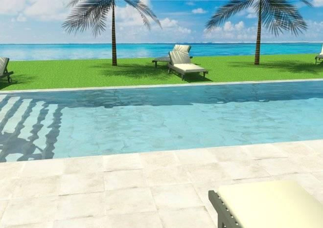 Infografía de piscina infinita con escalera en el ancho