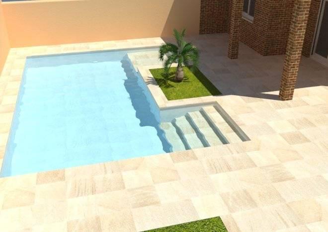 Infografía de piscina con escalera y cama de agua