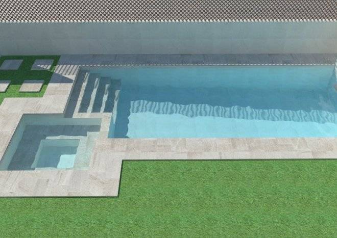 3d de piscina con spa integrado