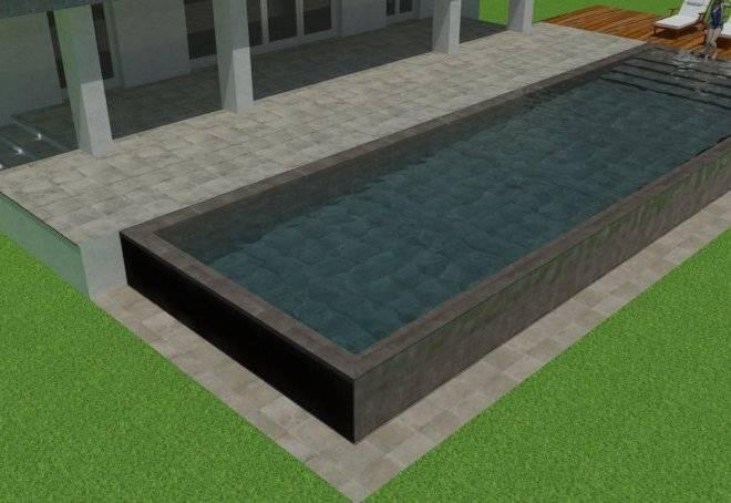 diseño de piscina infinita por dos laterales