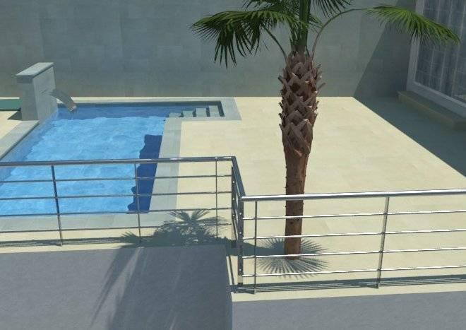 diseño de piscina y jardín con cascada relax