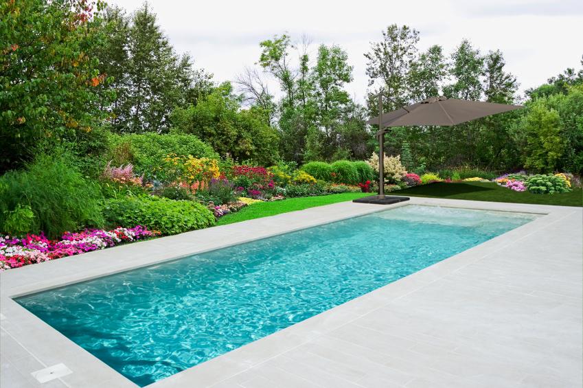 Jardín con piscina porcelánica de skimmer y spa