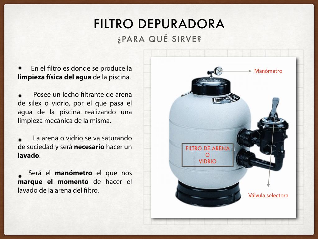 Limpieza del filtro de la depuradora