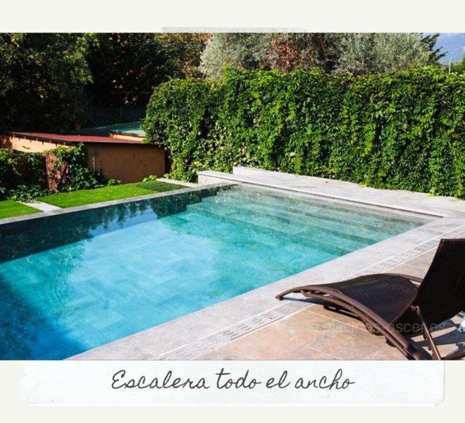 Jardín con piscina infinita con desborde en cascada
