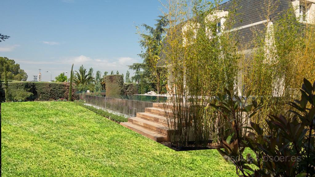 Casa de lujo, jardín perfecto y piscina de diseño.