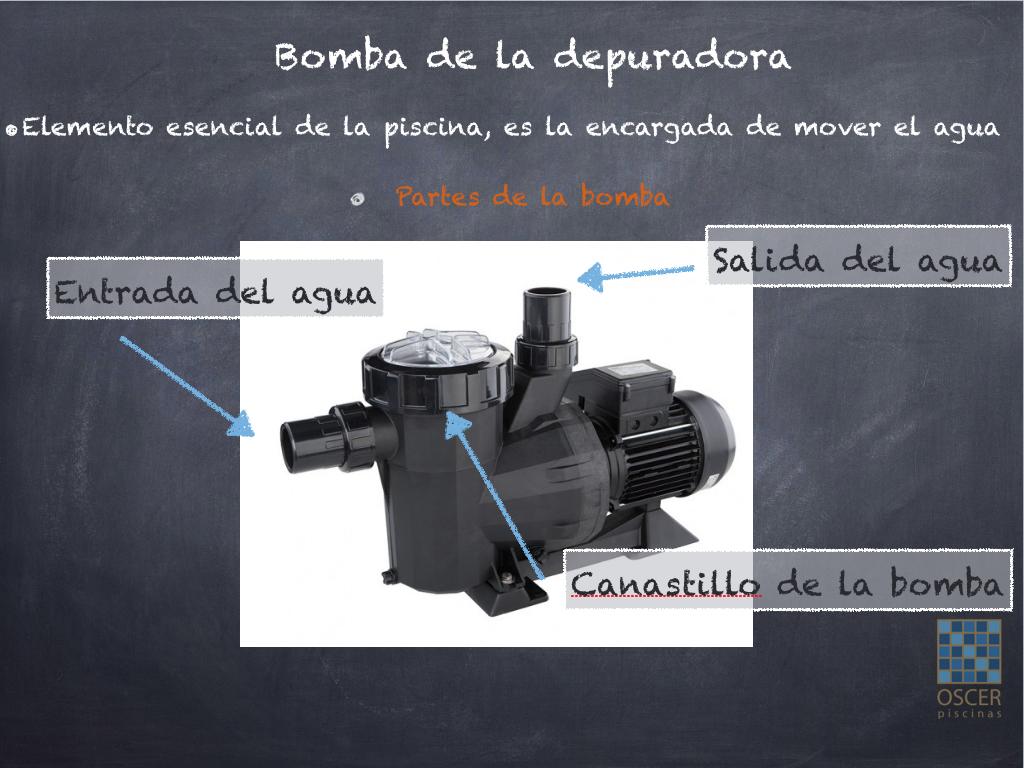 La bomba de la piscina tiene diferentes partes.