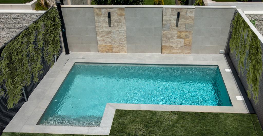 Jardín pequeño con piscina de obra porcelanica